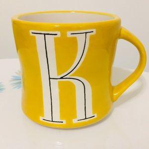 Anthropologie K Initial Mug yellow black white